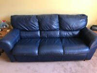 Three Seater and Two seater Blue Leather Sofas