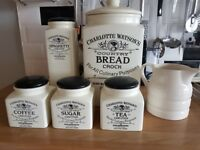 CHARLOTTE WATSON CREAM Kitchen Storage Jars Bread Spaghetti Tea etc VGC