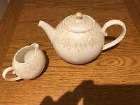 Denby Monsoon Lucille Gold Teapot & Milk Jug