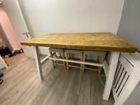 Reclaimed Timber Tall Bar Height Dining Table with 4 x Chairs and Matching Coffee Table