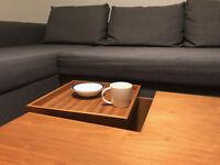 Dwell Coffee Table Walnut with tray and drawer 100cm x 100cm x 27cm
