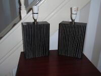 Pair of Dark Brown Striped Lamp bases
