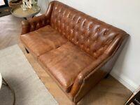 Vintage Leather Button & Stud Sofa (Rose & Grey)