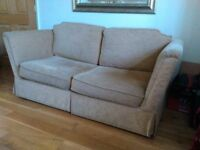 Golden colour sofa bed for sale. Bed hardly used. £60.OO