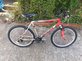 Specialized Hardrock Sport Mountain bike, front suspension red/Silver frame 21 inches / 24 gears