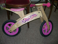 Peasytoys Wooden Girl's Ride-on Pink Lightning Balance Bike - like new.