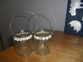Pair of Glass Candle Holders, Edged with Buttons