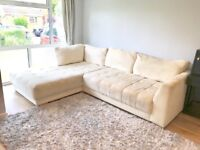 Large right hand facing lounger sofa - cream with wooden feet