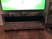 Mirrored glass crystal TV stand