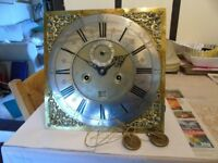 12x12 longcase clock movement brass faced c 1700 johnathan cartwright london maker