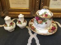 Royal Albert Old Country Rose Jam/ Pickle Pot and Cruet