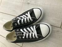 New black leather Converse All Stars size 5