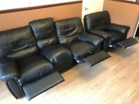 Leather Reclining 3 seater sofa and Chair - Excellent Condition