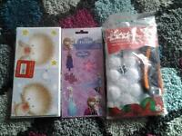 new xmas cards, frozen stickers and christmas snowman ornaments £1