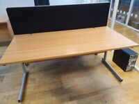 Single office desks with dividers and modesty panels 2 available