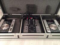 Pioneer 2x Decks (CDJ-200) and Mixer (DJM-250), sold with flight case.