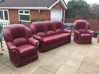 3 Piece Suite plus Pouffe Red Leather and Wood