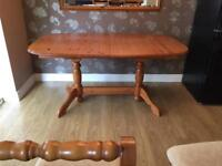 Solid pine extendable table & 6 chairs