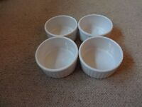 4 white souffle dishes