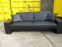 Black Leather 2/3 Seater Sofa Bed Couch Sofa - DELIVERY AVAILABLE