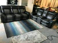 X SHOWRROM MODEL BLACK GREY 3 SESTER 2 SEATER RECLINER SOFA SETTEE COUCH DELIVERY AVAILABLE!!!!