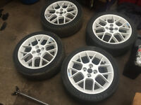 "honda civic 4x100 16"" enkei alloys with tyres white ek4 vti ej9 eg mx5"
