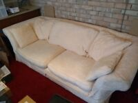 Sofa, white linen, 3 seater
