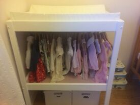 Baby changing table including open wardrobe