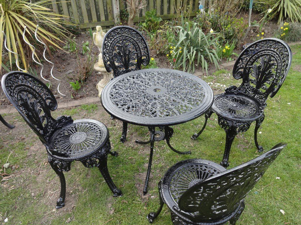 Cast Aluminium Garden Set Table And 4 Chairs Victorian Style