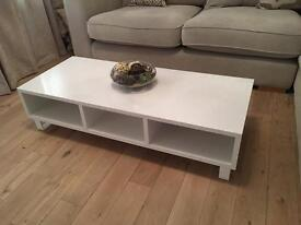 White wooden coffee table