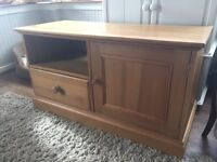 Solid Pine TV Unit - Shelf space, generous cupboard and deep drawer