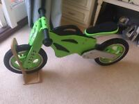 Kwaka Kawasaki based balance bike with stand