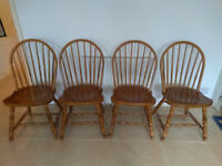 Set of four wooden dining chairs