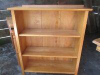 Pine bookshelves .