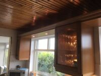 Solid oak kitchen cupboards & wall units, copper canopy hob extractor hood, made by Arthur Bonnet.