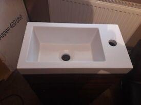 Walnut bathroom unit and basin