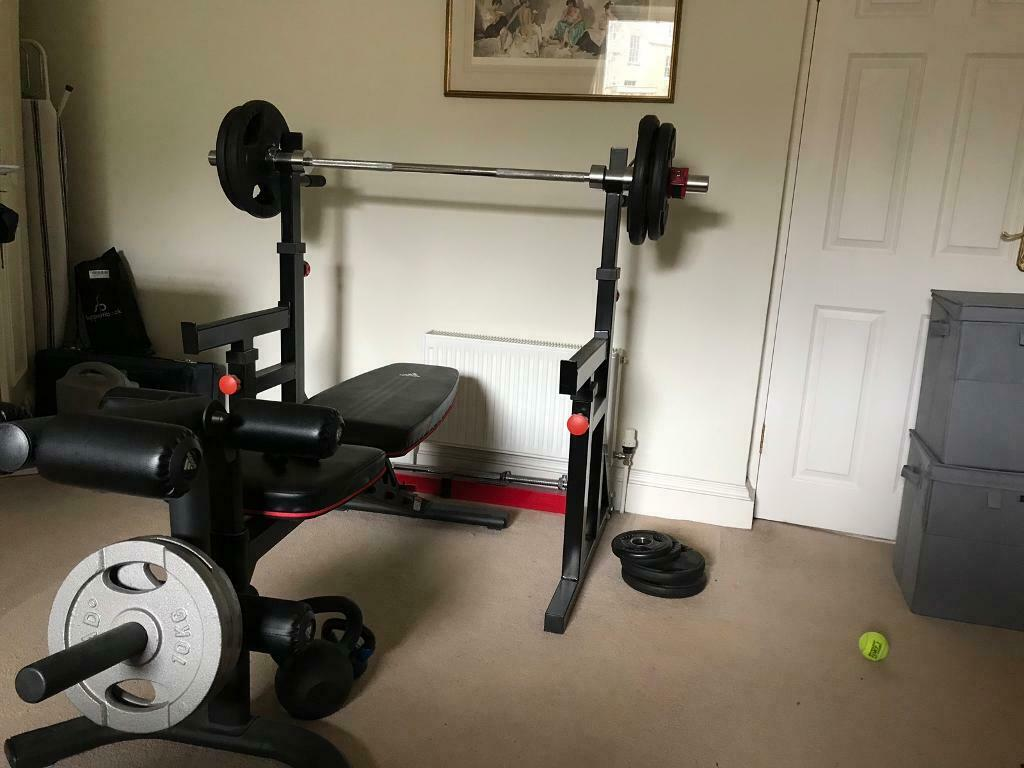 Bench Press Bench Safety Rack And 80kg Olympic Weights In Bath
