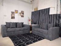 UK EXPRESS DELIVERY | DYLAN JUMBO GREY 3+2 SEATER SOFA | 1 YEAR WARRANTY | SPRING BASE