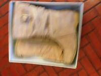 Beige suedette boots with buckle/strap detail good condition Size 6