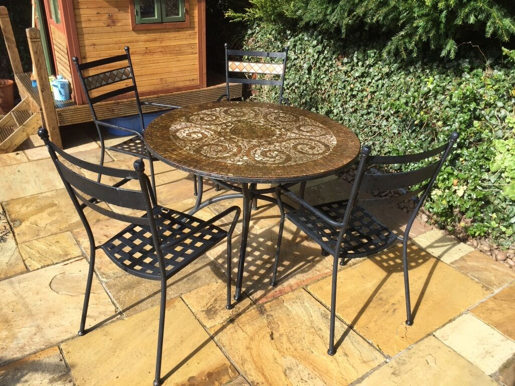 Ms Bedroom Furniture Ms Round 4 Seat Patio Furniture Set Metal Mosaic In Haslemere
