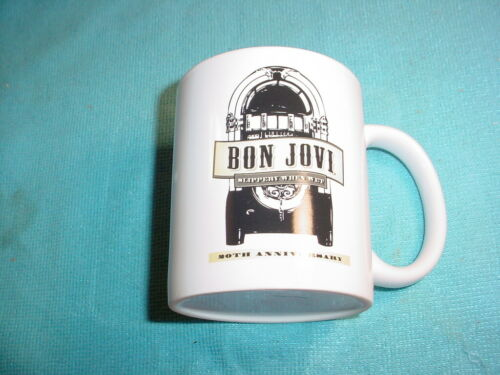 RARE BON JOVI COFFEE MUG/CUP SLIPPERY WHEN WET 20TH ANNIVERSARY