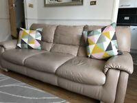 Three seat beige/cream/nude leather sofa