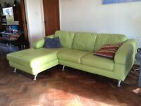 DFS Green Leather L shaped Sofa