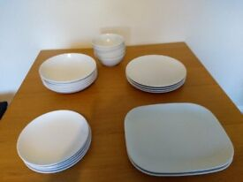 Matching set of dinner plates, side plates and bowls - new price
