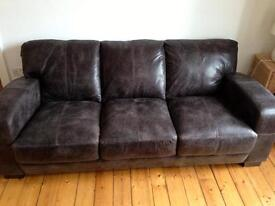 DFS Brown Leather Sofa - almost new