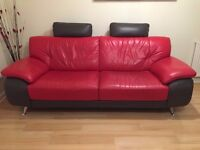 Trendy Italian Leather 3 Seater Sofa and Chair