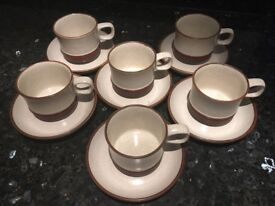 DENBY STONEWARE CUPS AND SAUCERS POTTERS WHEEL DESIGN