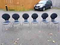 6 Bentwood & Black Leather Chairs FREE DELIVERY 681