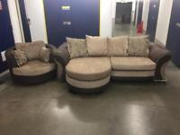 3 Seater Chaise Corner Sofa and Matching Swivel Chair - Delivery Available!