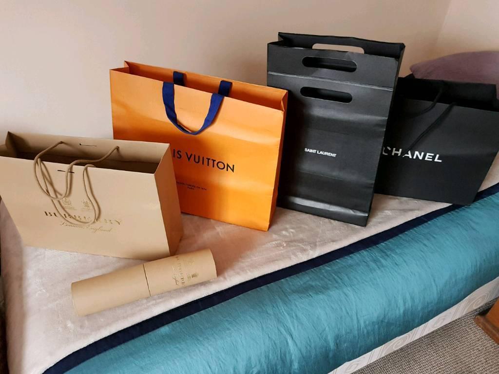 16 Shopping bags from Louis Vuitton, Chanel, Gucci, Philipp Plein,  Burberry, Saint Laurent,. 2ba09e5db95